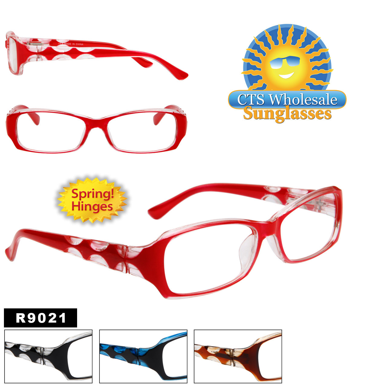 Wholesale Reading Glasses R9021 with Spring Hinges