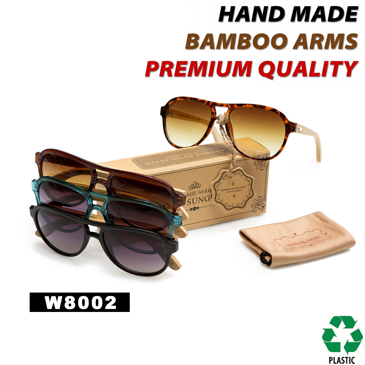 Aviator Bamboo Wood Temple Sunglasses  - Style #W8002