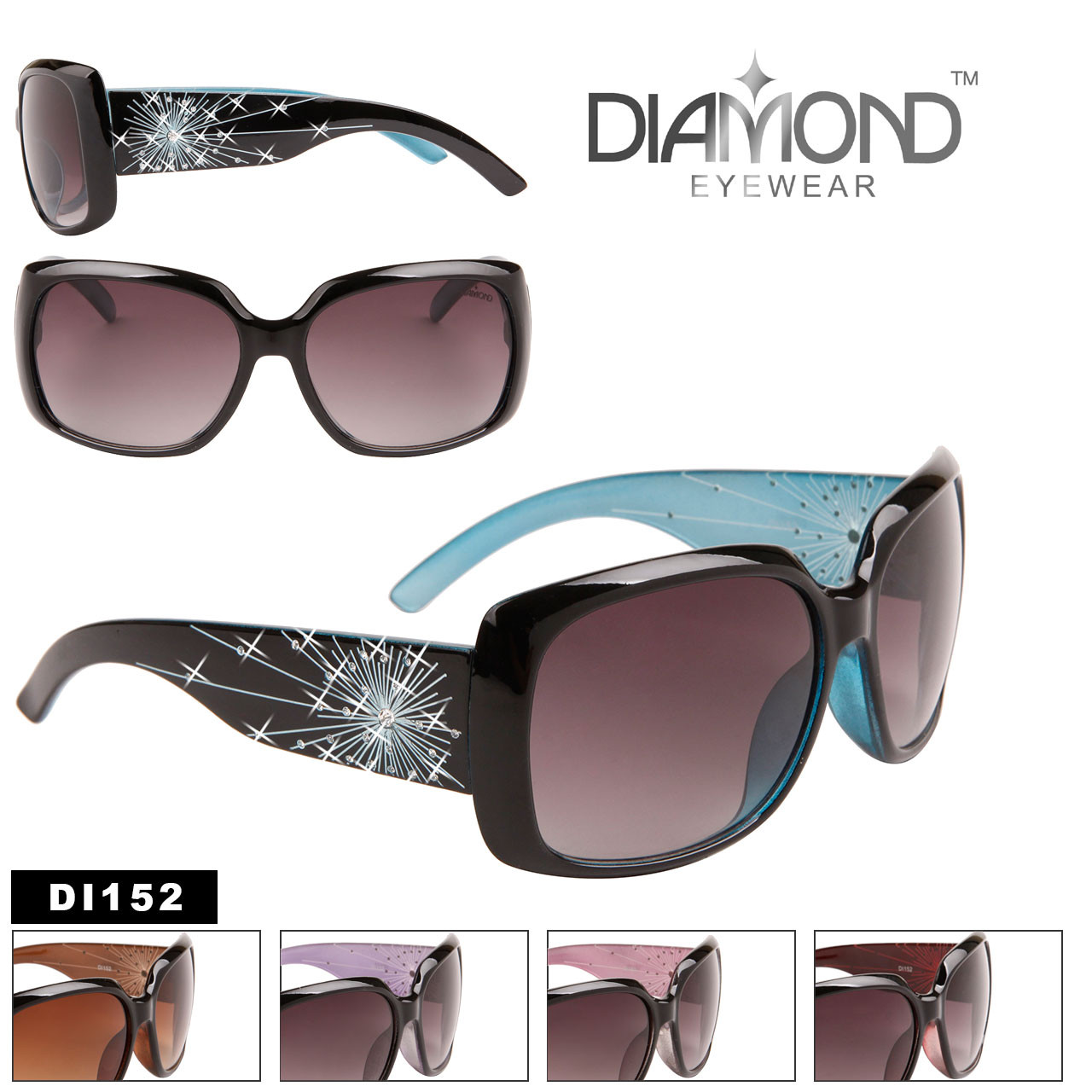 Designer Rhinestone Sunglasses in Bulk - Style #DI152