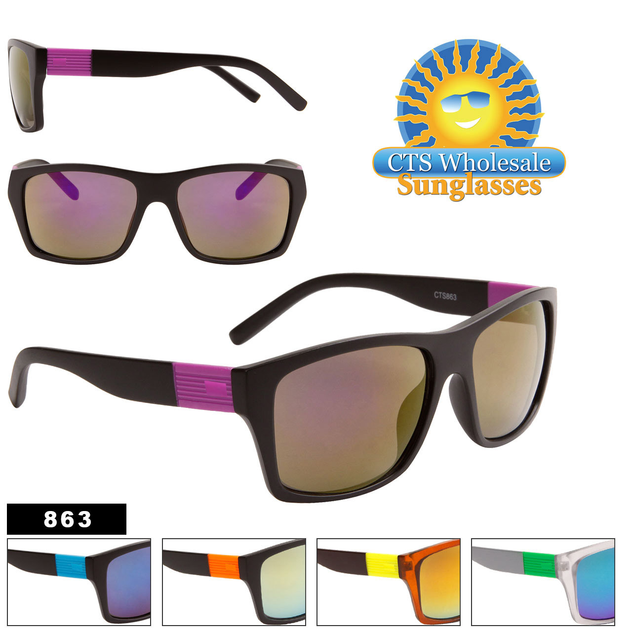 Wholesale Mirrored Sunglasses - Style #863