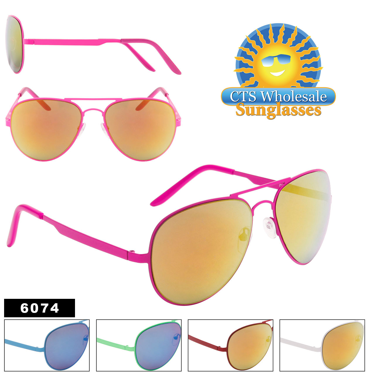 Aviator Sunglasses by the Dozen - Style #6074