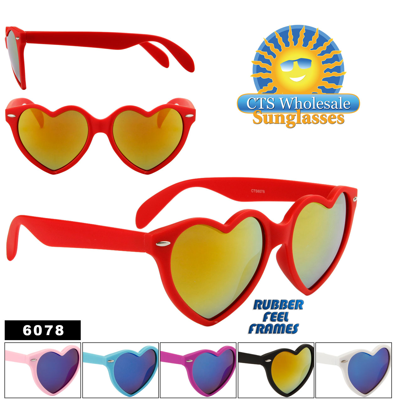 Wholesale Heart Sunglasses - Style #6078