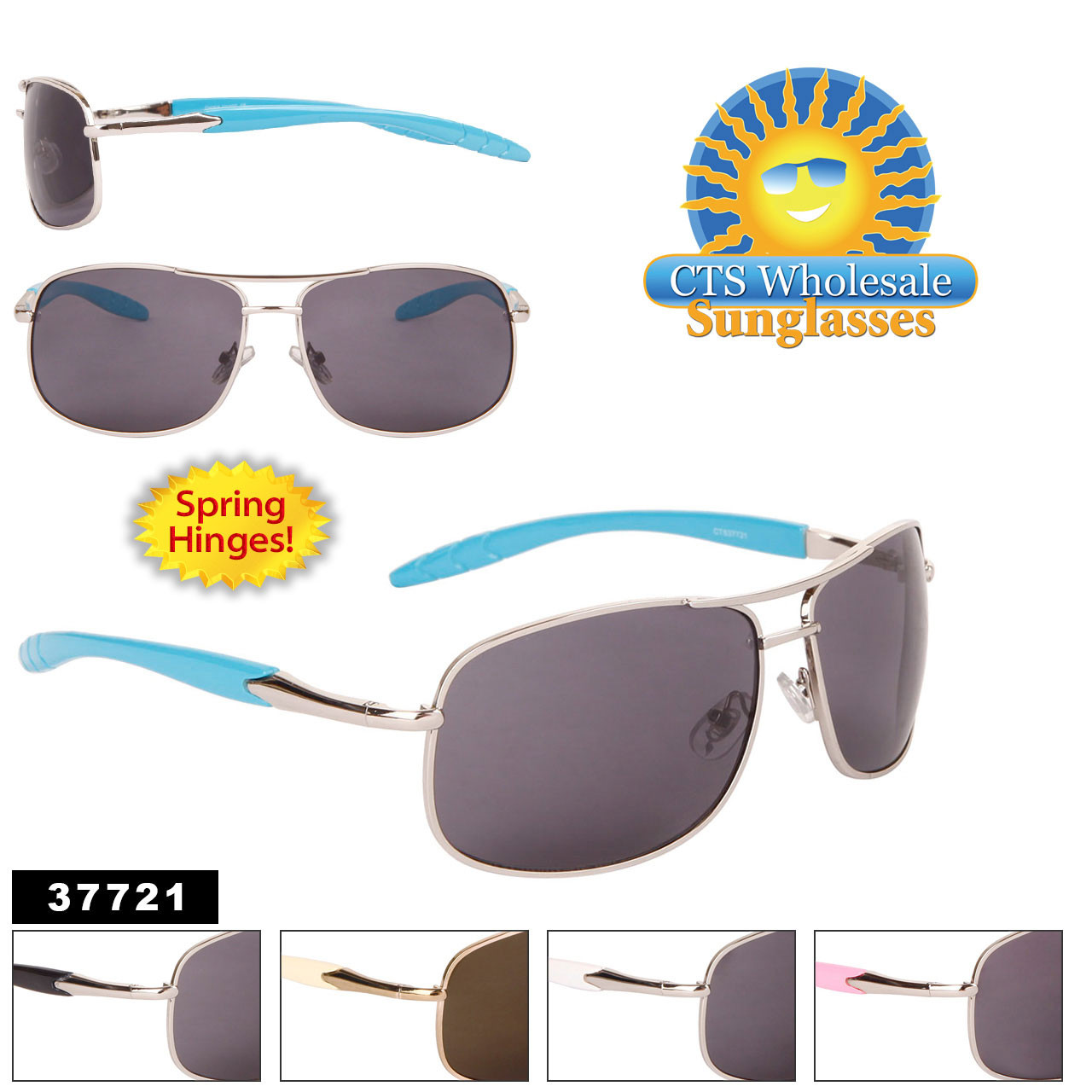 Metal Square Aviator Sunglasses by the Dozen - Style #37721