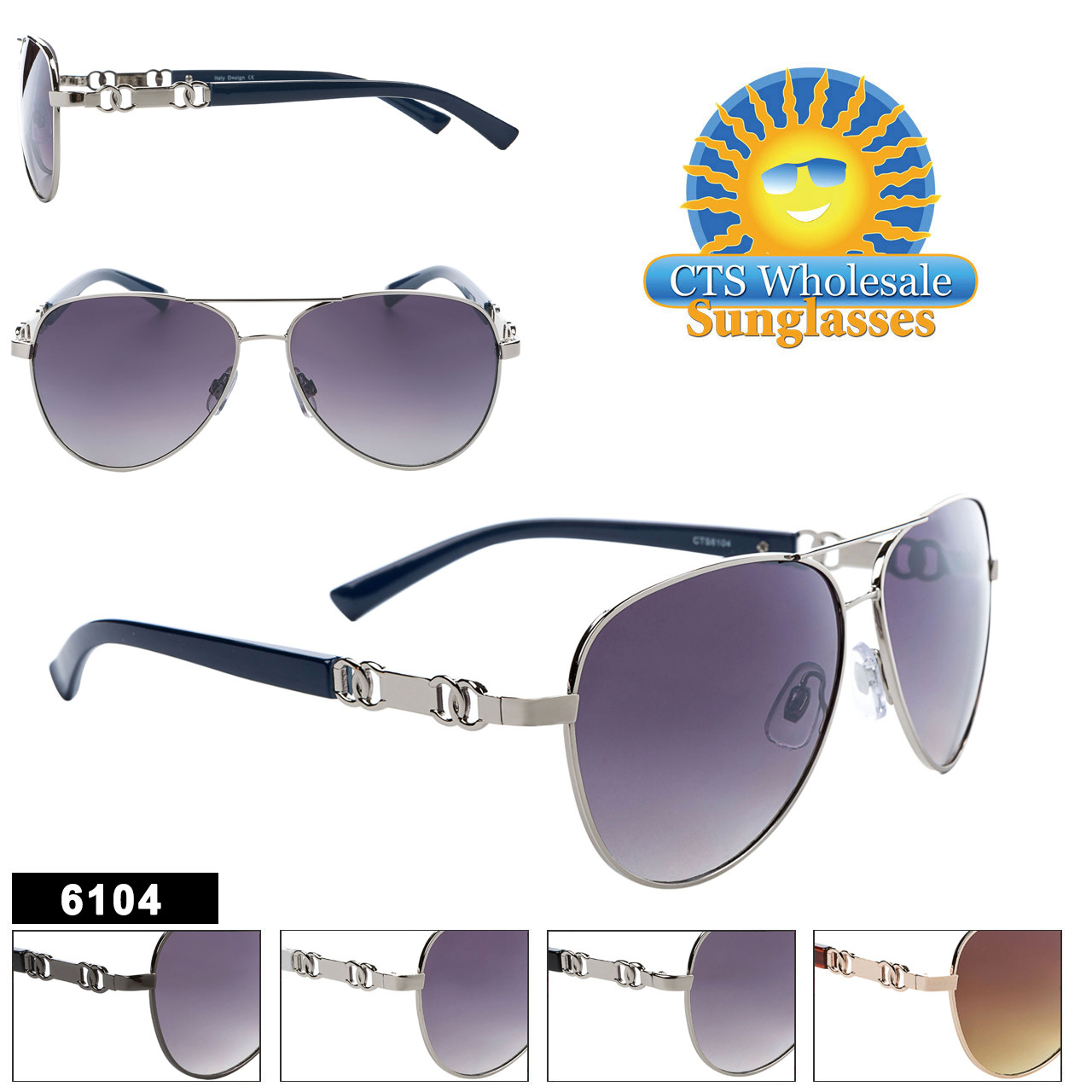 Fashion Aviator Sunglasses - Style #6104