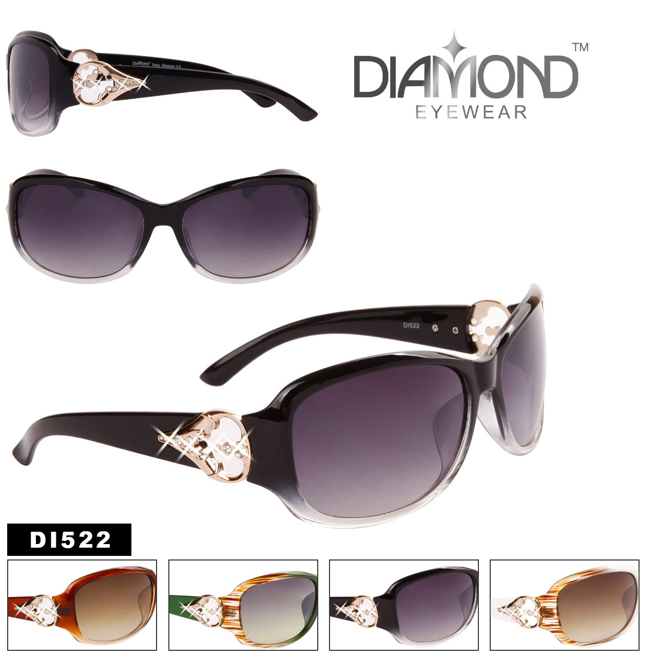 Diamond™ Rhinestone and Metal Accented Fashion Sunglasses - Style #DI522
