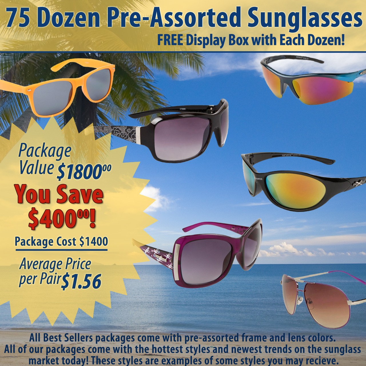 75 Dozen Package Deal Wholesale Sunglasses