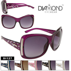 Diamond Eyewear DI127 Vintage Sunglasses with Rhinestones! (Assorted Colors) (12 pcs.)