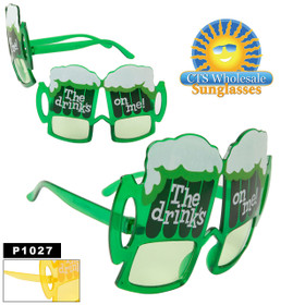 """Party Glasses """"The Drinks On Me!""""  ~ P1027 (12 pcs.) Beer Mug Sunglasses (Assorted Colors)"""