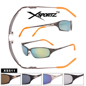 Wrap Around Metal Xsportz™ Spring Hinge Sport Sunglasses - Style #XS511