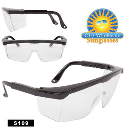 Safety Glasses ~ Clear Lens ~ S109 (12 pcs.) Adjustable Arms