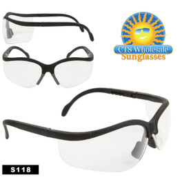 Clear Safety Glasses ~ S118 (12 pcs.) Adjustable Arms