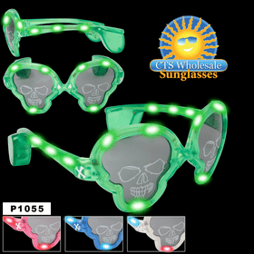 Flashing Sunglasses ~ Skulls ~ P1055 (Assorted Colors) (12 pcs.)