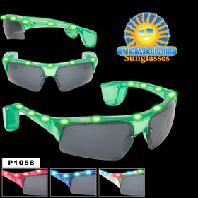 Flashing Sunglasses  ~ P1058  (Assorted Colors) (12 pcs.)
