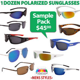 Polarized Men's Sunglasses Sample Pack SPA-PM (12 pcs.) (Assorted Colors)