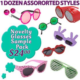 Novelty Glasses Sample Pack NSP1 (12 pcs.) Fun Mix of Popular Novelty Glasses (Assorted Colors)