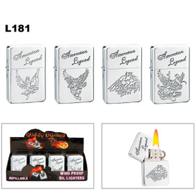 "Wholesale Lighters ~ Lighter Fluid NOT Included L181 (12 pcs.) ""American Legend"" on Polished Chrome"