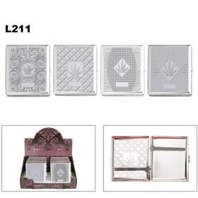 Wholesale Cigarette Cases L211 (12 pcs.) Assorted Chrome Patterns with Pot Leaves