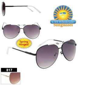 Bulk Metal Aviator Sunglasses - Style #817 | Spring Hinge! (Assorted Colors) (12 pcs.)