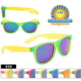 Bulk California Classics Sunglasses with Mirror Lens - Style #828 (Assorted Colors) (12 pcs.)