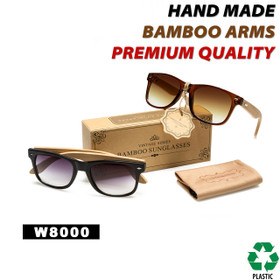 California Classics Bamboo Wood Temples - Style #W8000 (Assorted Colors) (12 pcs.)