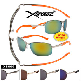 Wholesale Xsportz™ Sports Sunglasses - Style # XS609 Spring Hinge (Assorted Colors) (12 pcs.)