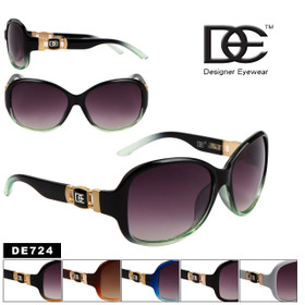 Wholesale Designer Eyewear Sunglasses - Style # DE724 (Assorted Colors) (12 pcs.)