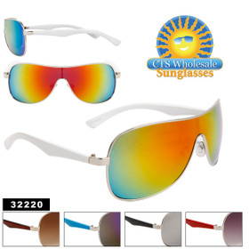 Wholesale Unisex Sunglasses - Style # 32220 Color Mirrored Lens (Assorted Colors) (12 pcs.)