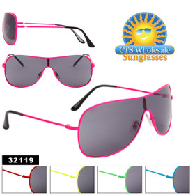 Unisex Wholesale Sunglasses - Style # 32119 Single Piece Lens! (Assorted Colors) (12 pcs.)