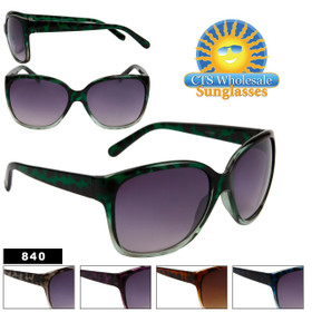 Women's Wholesale Fashion Sunglasses - Style # 840 (Assorted Colors) (12 pcs.)