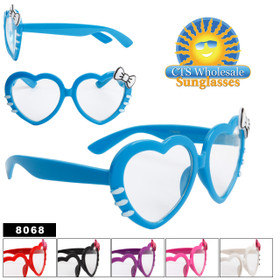 Clear Lens Heart Sunglasses - Style # 8068 (Assorted Colors) (12 pcs.)