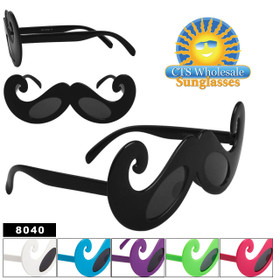 Mustache Sunglasses Wholesale - Style # 8040 (Assorted Colors) (12 pcs.)