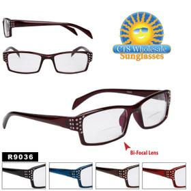 Bi-Focal Reading Glasses - R9036 (12 pcs.) Assorted Colors ~ Lens Strengths +1.00—+3.50