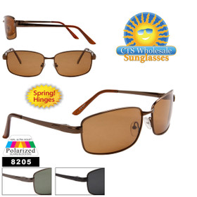 Bulk Polarized Sunglasses - Style # 8205 Spring Hinge (Assorted Colors) (12 pcs.)