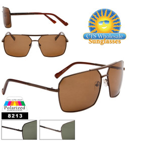 Polarized Aviator Sunglasses - Style # 8213 (12 pcs.) (Assorted Colors)