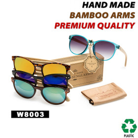 Women's Fashion Bamboo Wood Sunglasses - Style #W8003 (Assorted Colors) (12 pcs.)