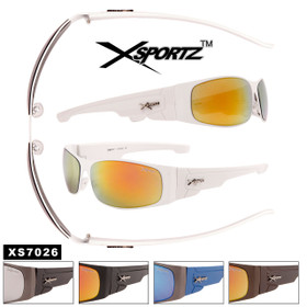 Bulk Mirrored Sport Sunglasses - Style #XS7026 (Assorted Colors) (12 pcs.)