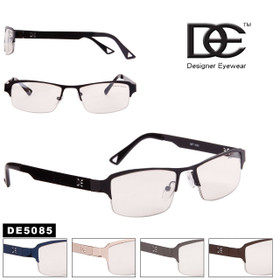 Designer™ Eyewear Bulk Clear Lens Glasses  - Style #DE5085 (Assorted Colors) (12 pcs.)