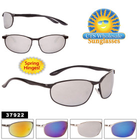 Bulk Men's Mirrored Sport Sunglasses - Style #37922 (Assorted Colors) (12 pcs.)