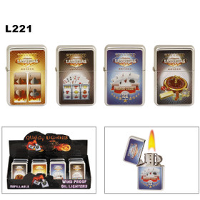Lighters Wholesale ~ Lighter Fluid NOT Included L221 (12 pcs.) Assorted Las Vegas