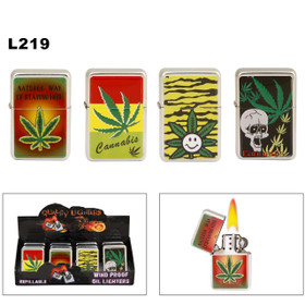 Wholesale Oil Lighters ~ Lighter Fluid NOT Included L219 (12 pcs.) Assorted Marijuana