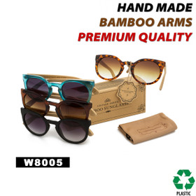 Bamboo Wood Vintage Sunglasses - Style #W8005 (Assorted Colors) (12 pcs.)
