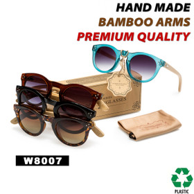 Hand Made Fashion Bamboo Wood Sunglasses - Style #W8007 (Assorted Colors) (12 pcs.)