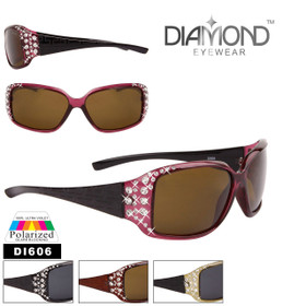 Diamond™ Polarized Rhinestone Etched Temple Sunglasses - Style #DI606 (Assorted Colors) (12 pcs.)