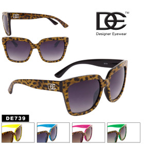 Boxy Cat Eye Cheetah Print Sunglasses - Style #DE739 (Assorted Colors) (12 pcs.)