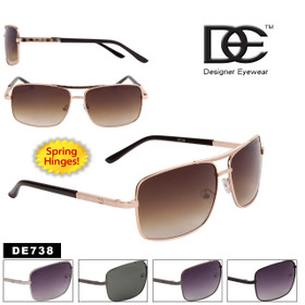 Black & Gold Aviator Sunglasses - Style #DE738 Spring Hinge (Assorted Colors) (12 pcs.)