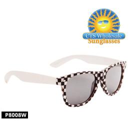 White Checkered California Classics Sunglasses - Style P8008W