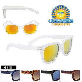 Retro Sunglasses - Style #6118 (Assorted Colors) (12 pcs.)