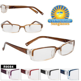 Plastic Reading Glasses in Bulk - R9084 (12 pcs.) Assorted Colors ~ Lens Strengths +1.00—+3.50