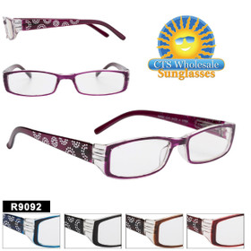 Bulk Plastic Reading Glasses - R9092 (12 pcs.) Assorted Colors ~ Lens Strengths +1.00—+3.50