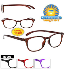 Plastic Reading Glasses - R9096 Spring Hinge! (12 pcs.) Assorted Colors ~ Lens Strengths +1.00—+3.50